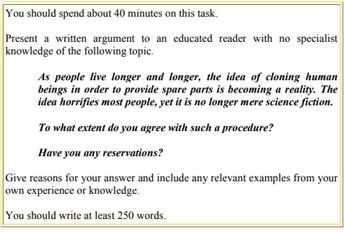 ตัวอย่างข้อสอบ Writing IELTS Task 2