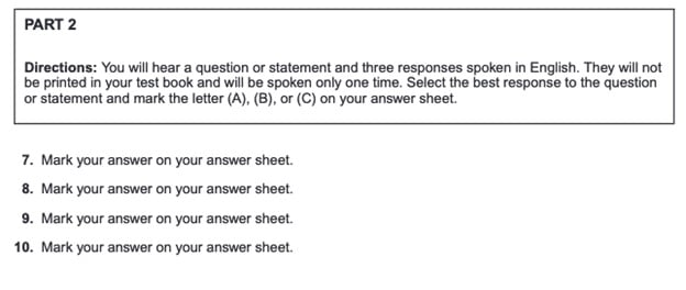 TOEIC Listening Question Respons